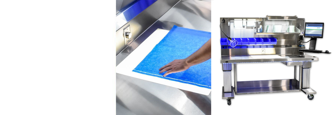 Easily inspect sterile wrap during prep and pack processes